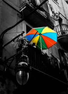barcelona black & white color splash summer street