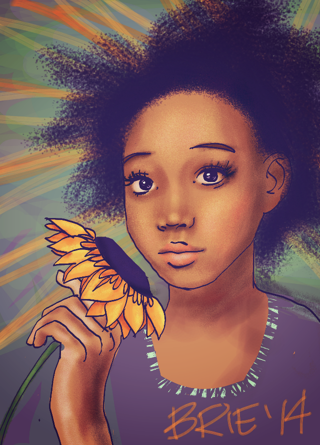 super quick to sneak in before the end of submissions, so it's a little rough :P but here's rue and a flower that matches her sunny disposition for #dcsunflowers :)  edit: steps up in my gallery for the interested  done on my Samsung s5 phone, 1.5 hours